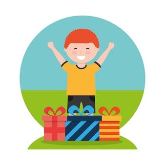 그의 손에 큰 선물 상자와 함께 재미있는 만화 소년