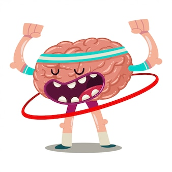 Funny cartoon brain trains with hula hoop. vector character of an internal organ isolated. brainstorm illustration.