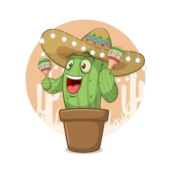 Забавный мультяшный персонаж кактуса в шляпе сомбреро и играет на музыкальном инструменте шейкеры