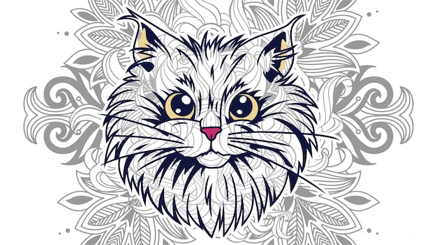 Funny cartoon cat head with floral background in zentangle stylized