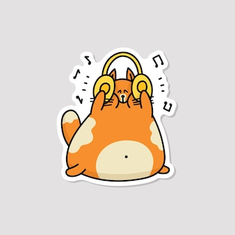 Funny cartoon cat listening to loud music on headphones - happy cute orange animal holding orange headset.    illustration.