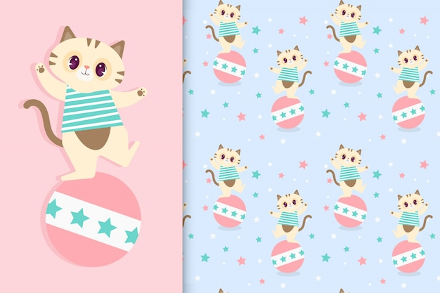 Funny cartoon cat with seamless transparent pattern. vector premium
