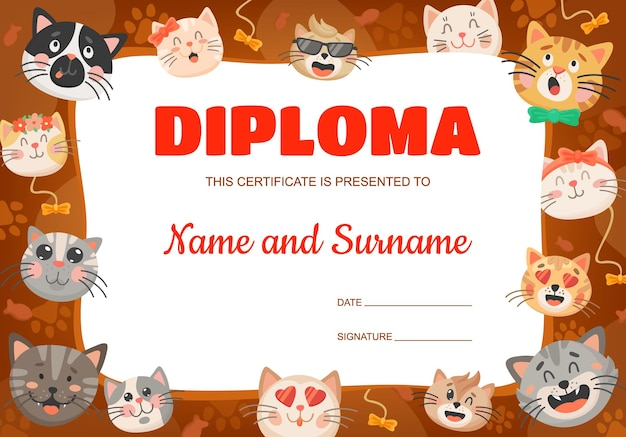 Funny cartoon cats or kittens kids diploma. vector certificate template with cute pets. education award frame for school or kindergarten graduation or achievement with feline animals express emotions