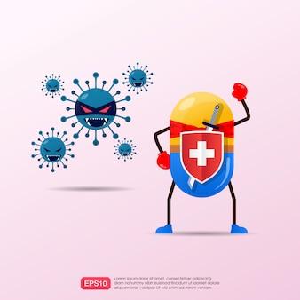 薬物カプセルスーパーヒーローの面白い漫画のキャラクターは、発生コロナウイルスと戦います。病気や病気のアイデアを治すための医学概念の力。ベクトルイラスト