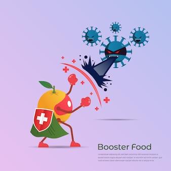 발발 바이러스와 박테리아에 대한 오렌지 슈퍼 히어로 싸움의 재미있는 만화 캐릭터. 질병과 싸우는 부스터 식품 개념의 힘. 벡터 일러스트 레이 션