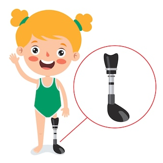 Funny cartoon character using prosthesis
