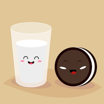 Funny cartoon characters of glass of milk and cookie