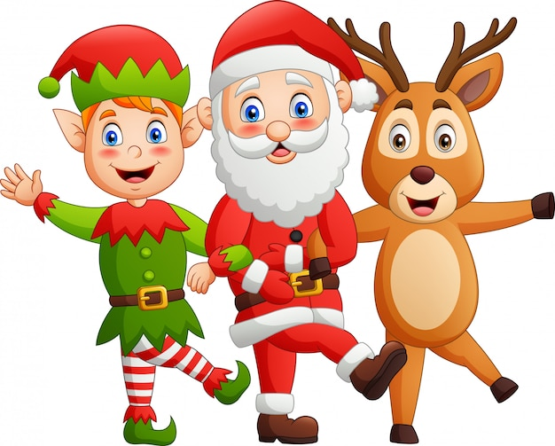 Funny cartoon characters, santa claus,deer, elves, dancing style.