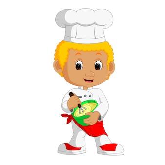 Funny cartoon chef boy making cake