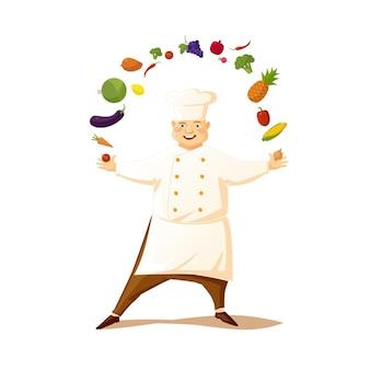 白い背景の上の野菜とシェフの帽子の面白い漫画のシェフ。図。