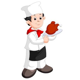 Забавный мультяшный шеф-повар с жареной