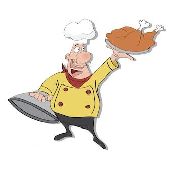 食べ物のトレイを手にした面白い漫画家シェフ