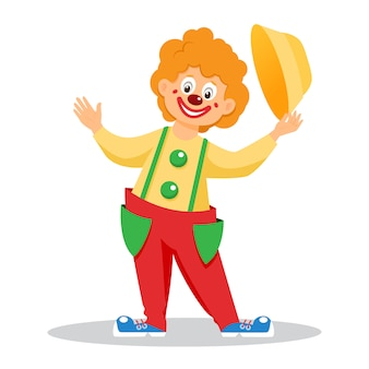 Funny cartoon clown with hat. isolated
