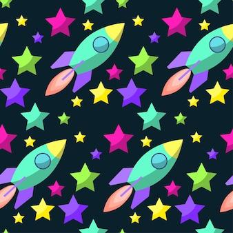 디자인에 사용하기 위해 열린 공간에 밝은 행성과 로켓이 있는 재미있는 만화 우주 원활한 패턴 배경