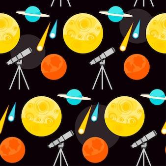 디자인에 사용하기 위해 열린 공간에 밝은 행성과 망원경이 있는 재미있는 만화 우주 원활한 패턴 배경