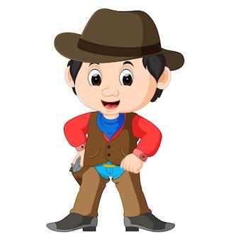 Funny cartoon cowboy