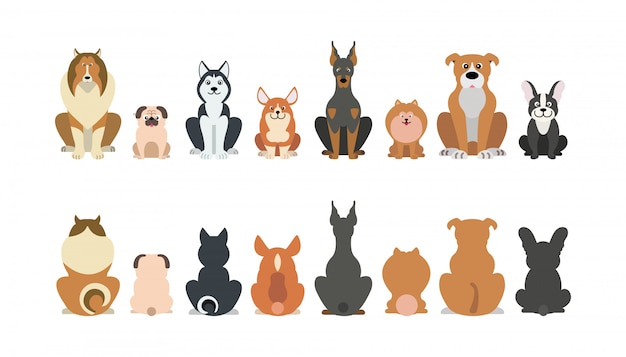 Funny cartoon dogs breeds set.
