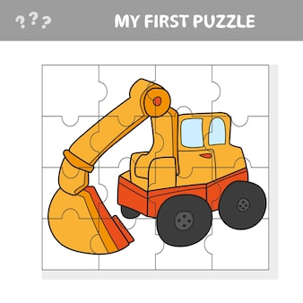 Funny cartoon excavator. educational game for kids - my first puzzle game