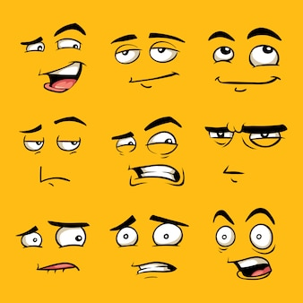 Funny cartoon faces with emotions.
