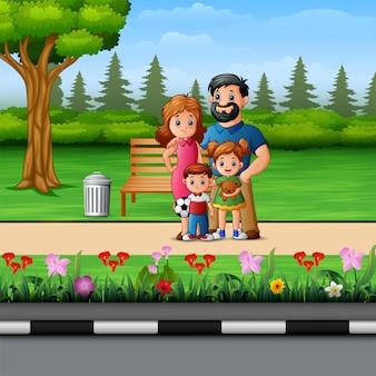 Funny cartoon family in the beautiful park