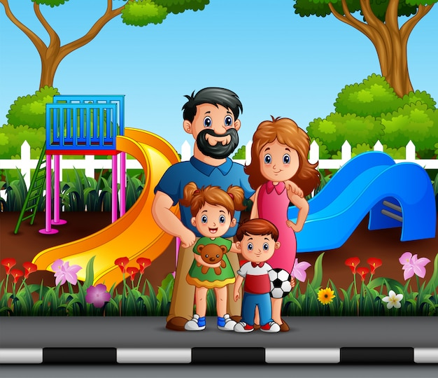 Funny cartoon family in the city park