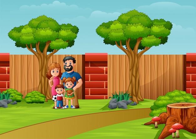 Смешная мультипликационная семья в городском парке