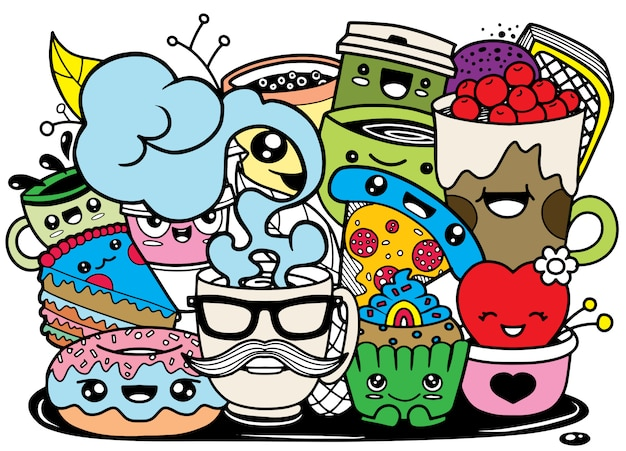 Funny cartoon food in kawaii style.