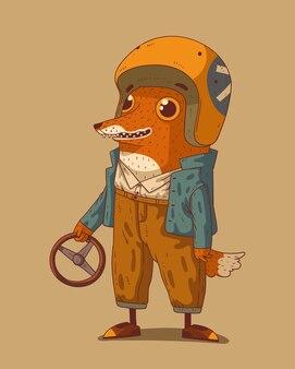 그의 팔에 스티어링 휠과 오토바이 헬멘에서 재미있는 만화 여우 캐릭터