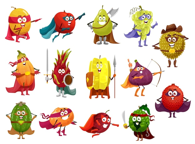 Funny cartoon fruits of superhero, pirate, cowboy and knight   characters.