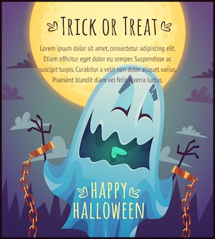 Funny cartoon ghost on full moon sky background happy halloween poster trick or treat greeting card  illustration