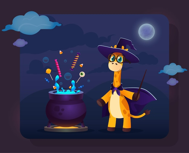 Funny cartoon giraffe in witch clothes standing near magic pot with candies and magic wand in hand