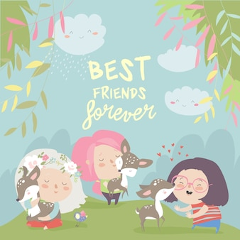 Funny cartoon girls with cute deer.best friends