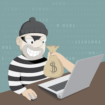 Funny cartoon hacker stealing money from laptop