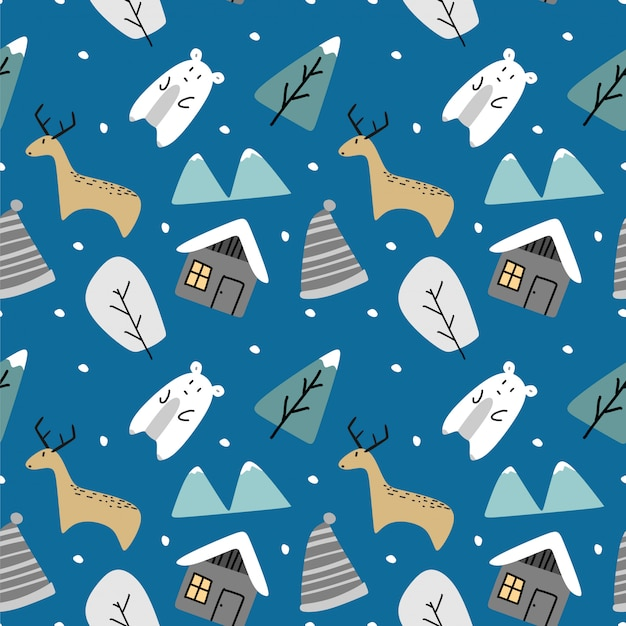 Funny cartoon hand drawn seamless pattern for winter