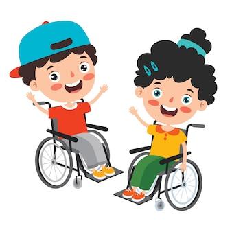 Забавный мультяшный ребенок с ограниченными возможностями позирует