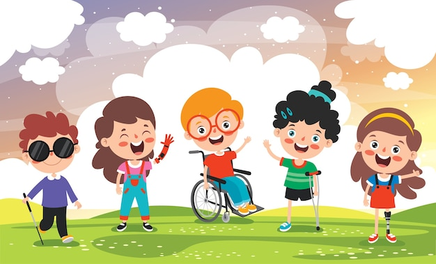 Funny cartoon handicapped kid posing