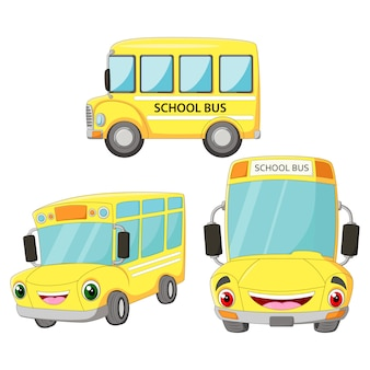 Funny cartoon happy bus school set
