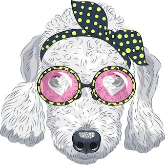 Смешной мультфильм хипстер собака бедлингтон терьер