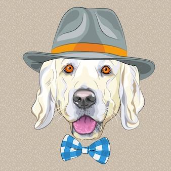 Funny cartoon hipster dog golden retriever
