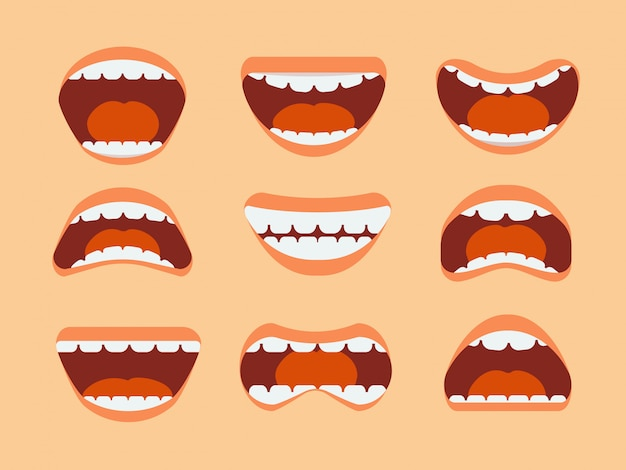 Funny cartoon human mouth, teeth and tongue with different expressions  set isolated