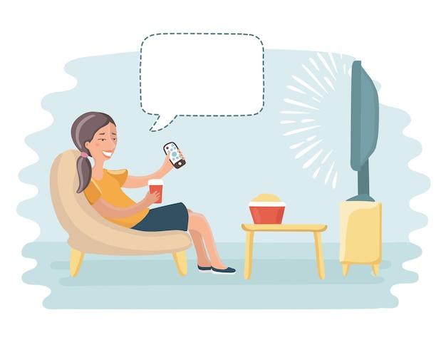 Funny cartoon illustration of happy woman watching tv