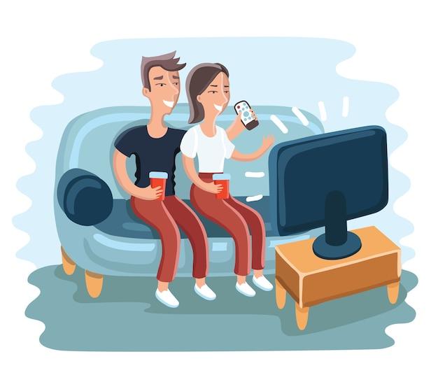 リビングルームで一緒にテレビ番組を見ている若いfmanと女性の面白い漫画イラスト