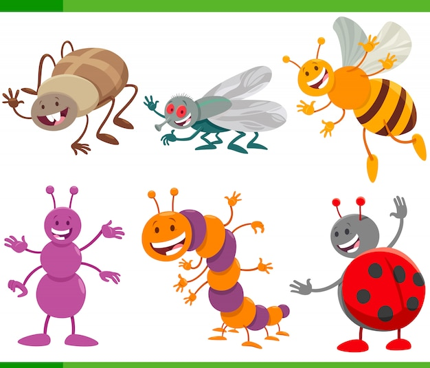 Funny cartoon insects animal characters set