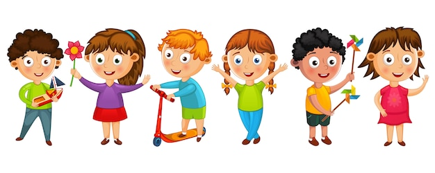 Funny cartoon kids isolated  illustration