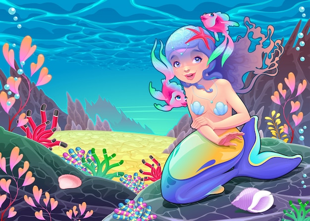 Funny cartoon mermaid in the ocean
