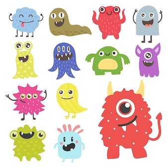 Funny cartoon monster cute alien character creature happy illustration devil colorful animal .