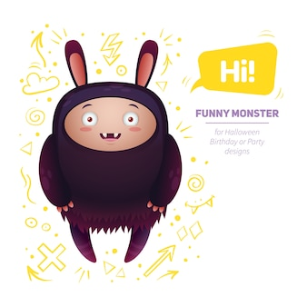 Funny cartoon monster smiling, isolated on white background