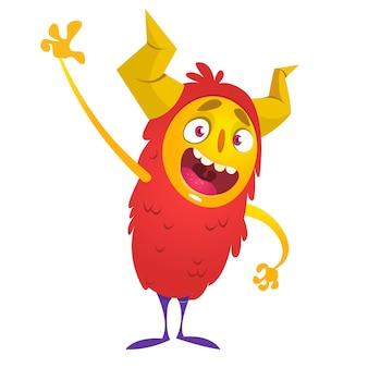 Funny cartoon monster waving. halloween