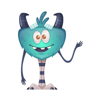 Funny cartoon monster wing long striped legs smiling and waving hand  illustration