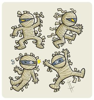 재미 있는 만화 미라 포즈 컬렉션